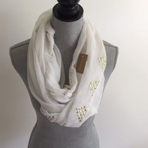 Francesca's White and Gold Studded Infinity Scarf